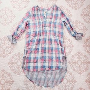 Anthropologie Holding Horses Pink Blue Flannel Top